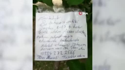 """Bursa'da erik ağacının dalına not bıraktı, """"Borcum var ise iban atın"""""""