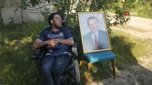 Bursa'da bedensel engelli Emir'in Erdoğan sevgisi