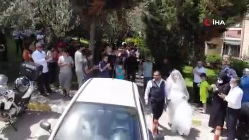 Bursa'da motosikleti düğün arabası yaptılar
