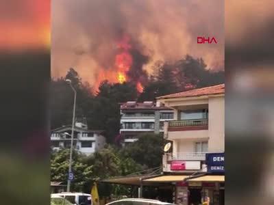 Marmaris'te de orman yangını başladı! 5 dakikada yayıldı, evler oteller tehdit altında