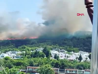 Bodrum'da yerleşim yerlerine yakın yangın!