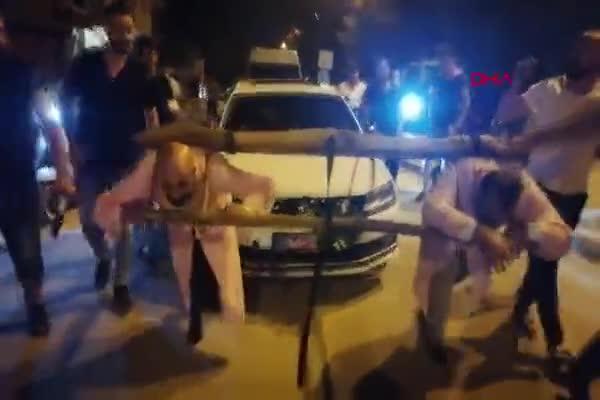 Bursa'da damada boyunduruk takıp, araç çektirdiler