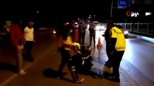 Bursa'da kontrolden çıkan motosikletli kadın ölümden döndü!